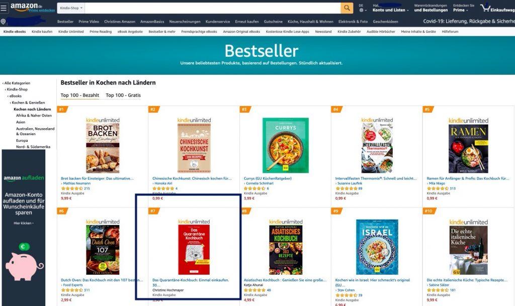 Das Quarantäne-Kochbuch auf Platz 7 der Amazon-Bestseller-Liste